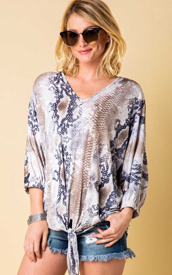 Python Perfection Knotted Top, S-3X!