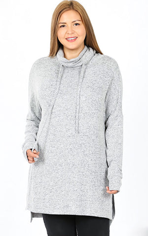 Cozy & Carefree Grey Knit Pullover, XL-3X
