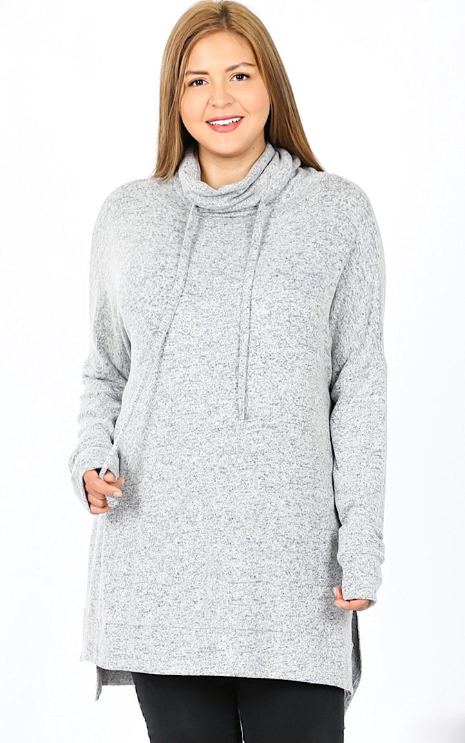 Cozy & Carefree Grey Knit Pullover, 1X-3X