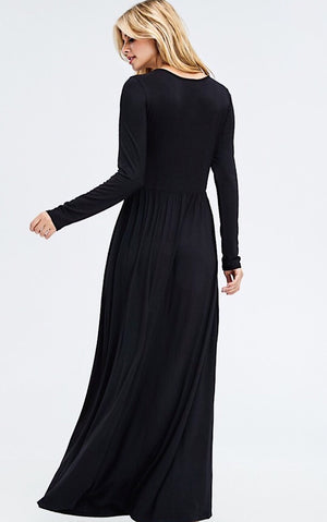 Bella Long Sleeve Black Maxi Dress, SMALL in stock!
