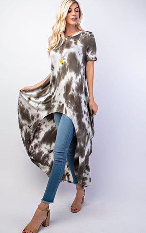 Steal The Show Olive Tie Dye Tunic, RESTOCKED, S-3X!