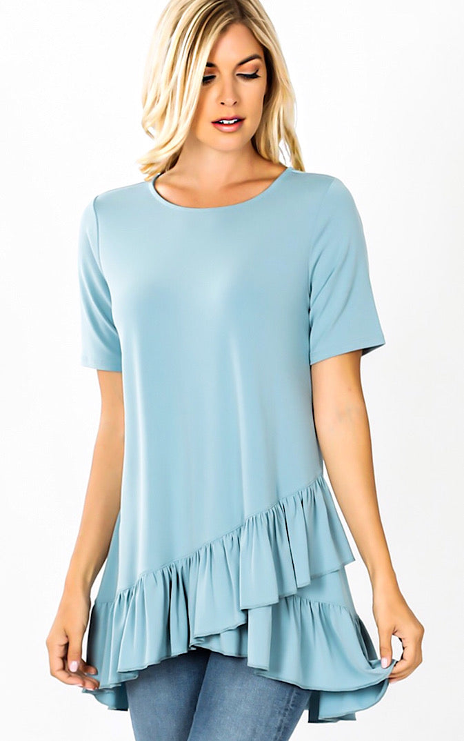 Daydreaming Blue Ruffle Tunic, S-3X *DEAL OF THE DAY*
