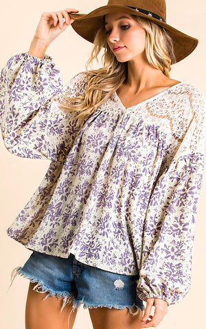 Flower Shop Lilac and Lace Top