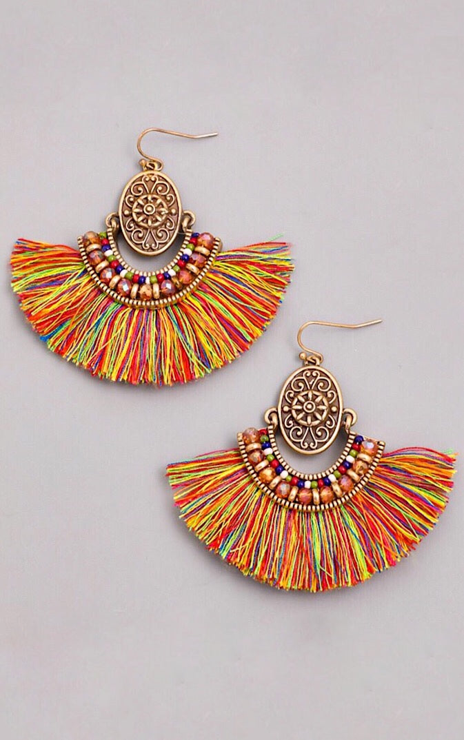 Life Of The Party Multicolor Fringe Earrings