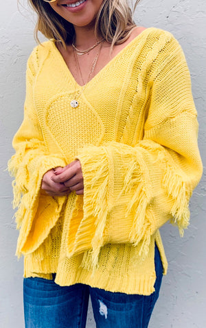 Rain Or Shine Yellow Sweater, RESTOCKED!