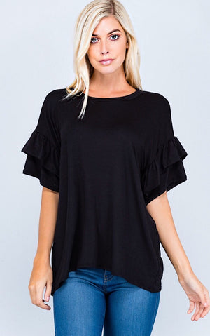 Camille Black Ruffle Sleeve Top