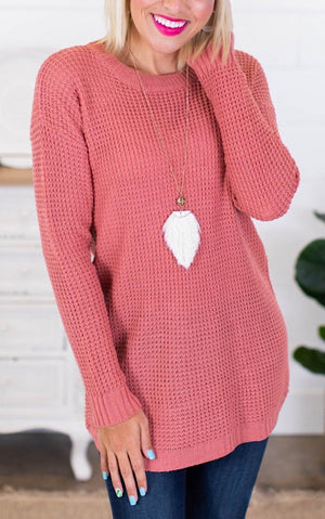 Around Town Dusty Rose Tunic Sweater