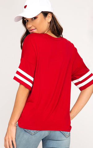 Hold The Line Red Varsity Tee