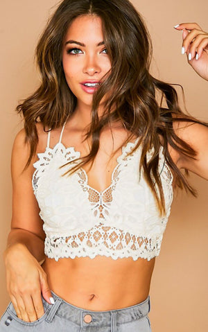 Pretty Woman White Lace Bralette, S-3X