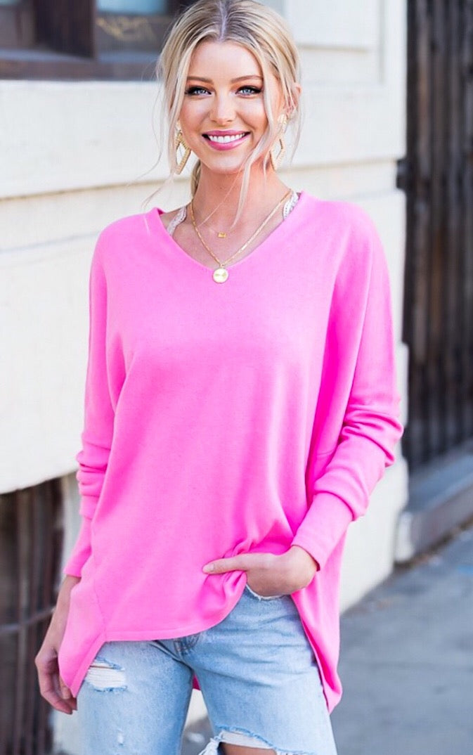 All The Feels Pink Sweater