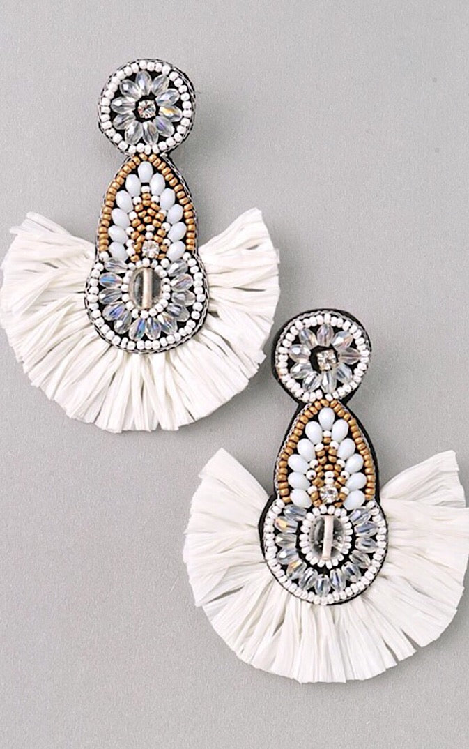 Sun And Sass White Earrings