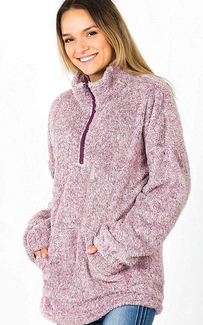 Chilly Days Ahead Eggplant Sherpa Pullover, S-3X