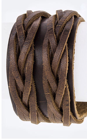 Knotty By Nature Dark Genuine Leather Cuff