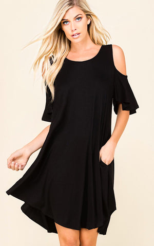 Sea Breeze Black Open Shoulder Dress