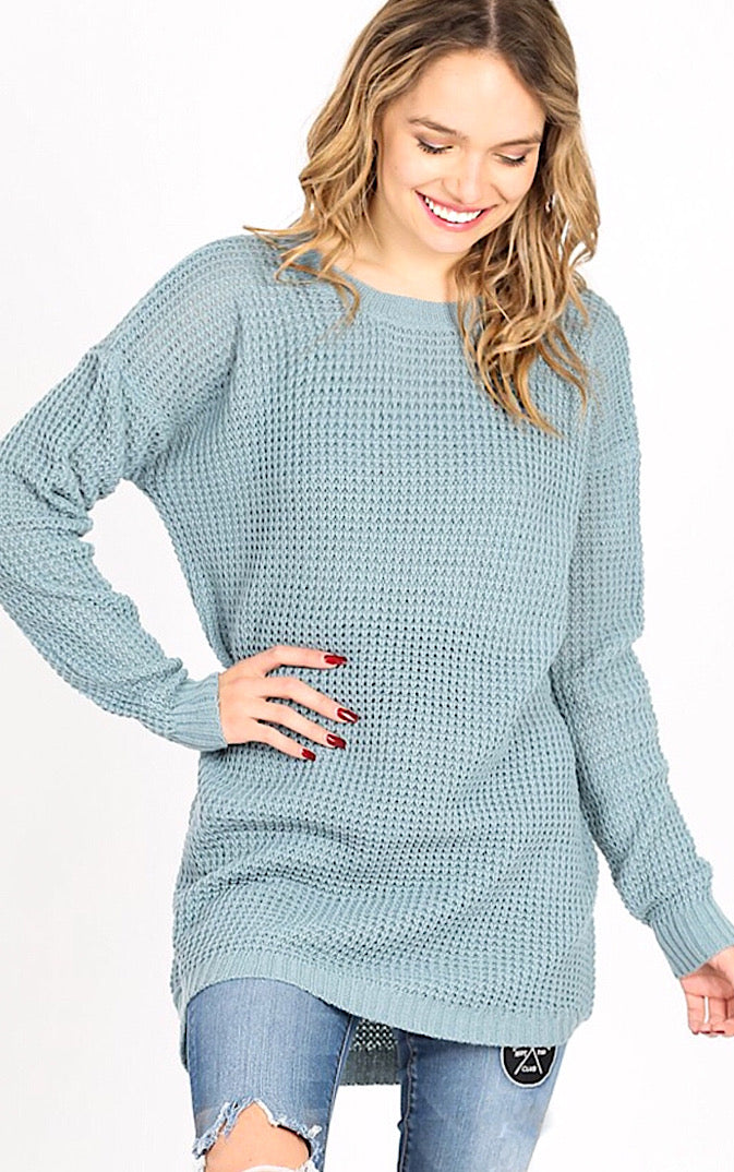 Around Town Blue Grey Tunic Sweater