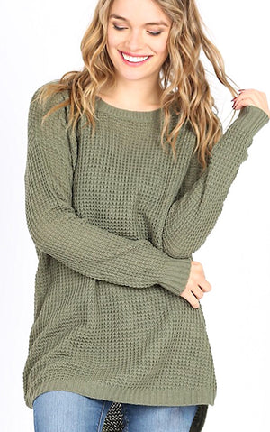 Around Town Olive Tunic Sweater
