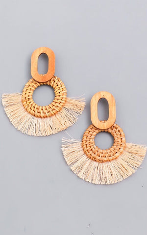 Fan Fare Tan Fringe Earrings
