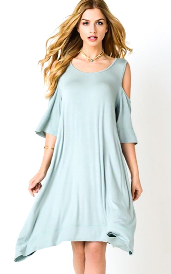 Sea Breeze Sage Open Shoulder Dress