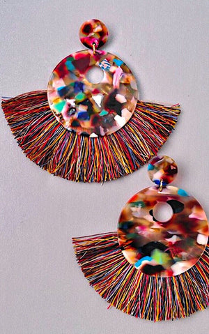 Star Quality Multicolor Resin Fringe Earrings