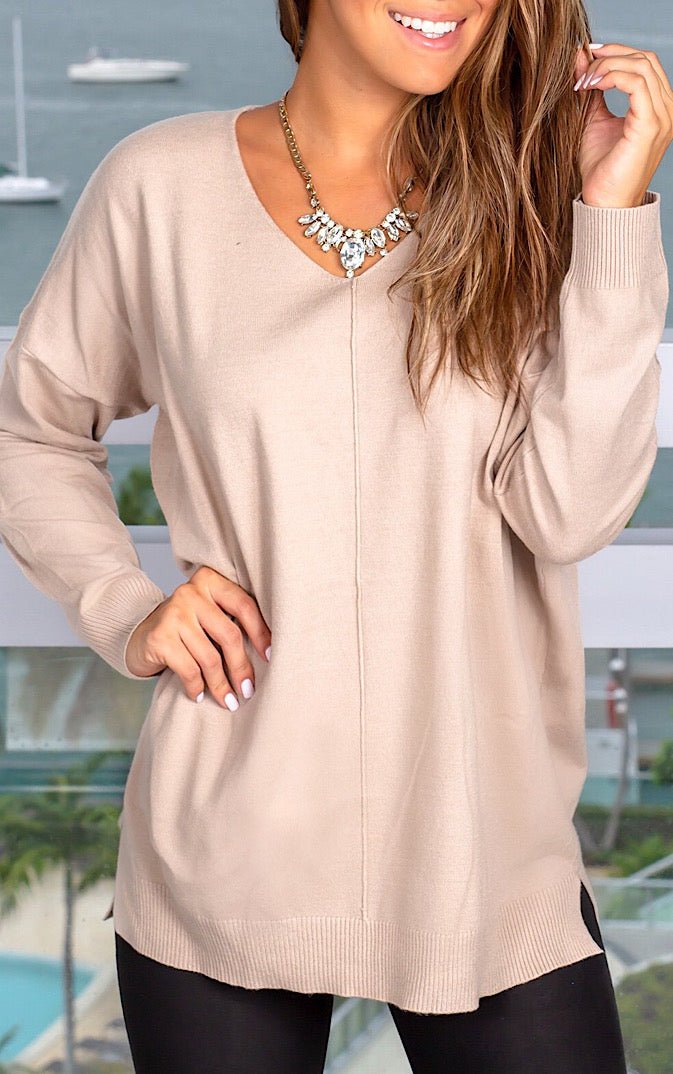 Finest Hour Light Taupe Sweater, 2X-3X *WEEKLY STEAL*