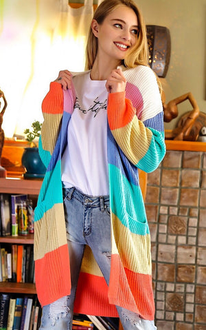 Rainbow Sherbert Striped Cardigan, SMALL - 1X!