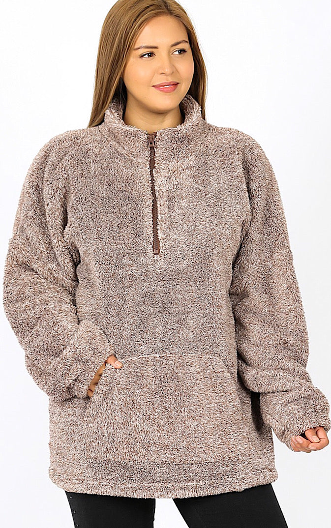 Chilly Days Ahead Brown Sherpa Pullover, 1X-3X