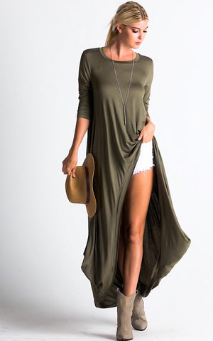Steal The Show Olive High Low Tunic