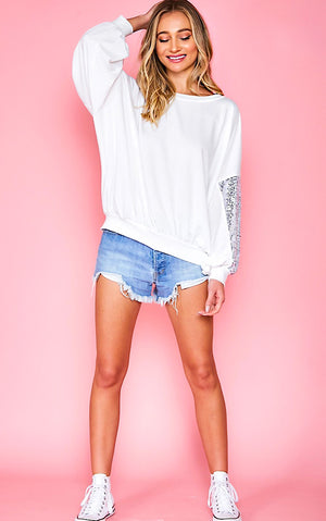 Sparkle And Shine White Sequin Sleeve Top