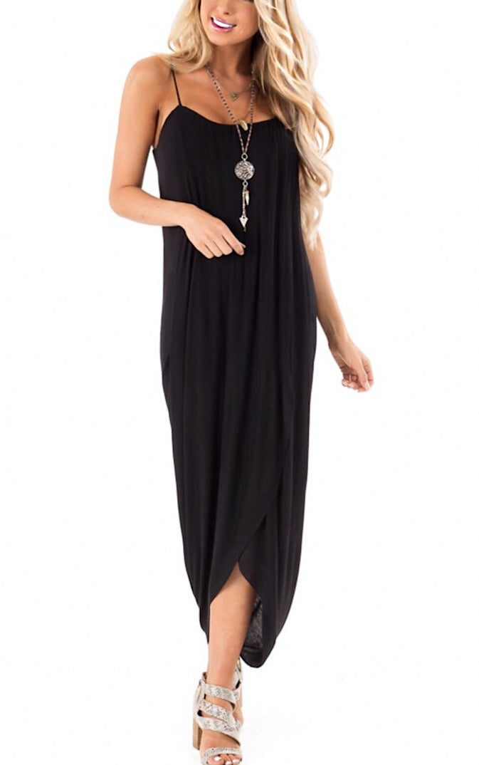 Casual Elegance Black Wrap Dress
