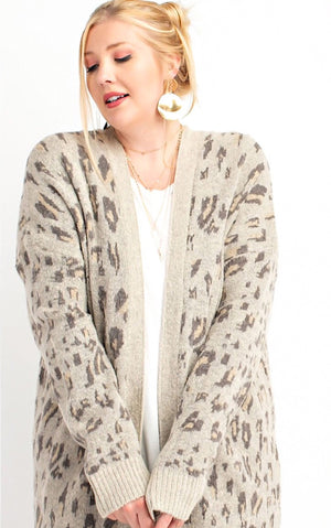 Life Of Luxury Light Taupe Leopard Cardigan, S-3X!