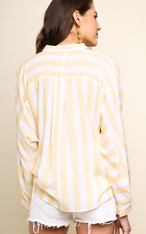 Sunshine On My Mind Yellow Striped Top, S-2X!