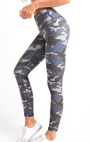 Life's A Breeze Blue Camo Butter Leggings, S-3X!!
