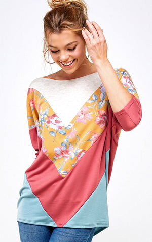Sunny Skies Ahead Colorblock Top