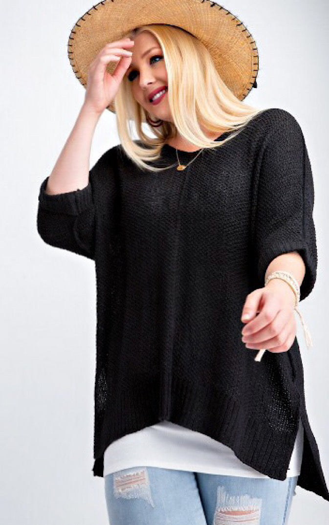 Fall Favorite Black Sweater, 1X-3X