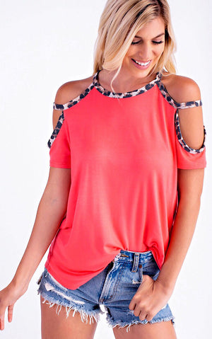 Feeling Fine Cheetah Trim Top