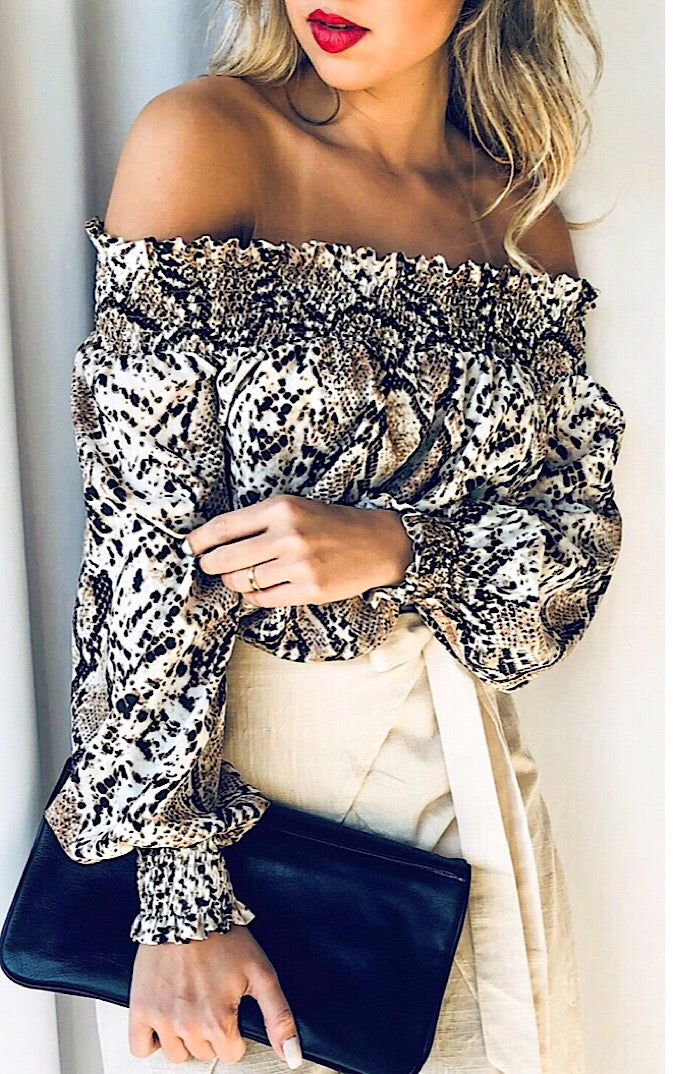 High Standards Snake Print Top