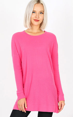 Warm Welcome Pink Waffle Tunic, S-3X! *DOORBUSTER*