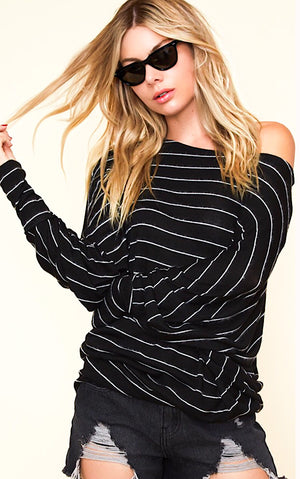 Saturday Vibes Black Striped Sweater
