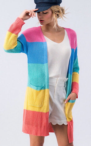 Rainbow Stripe Color Block Cardigan