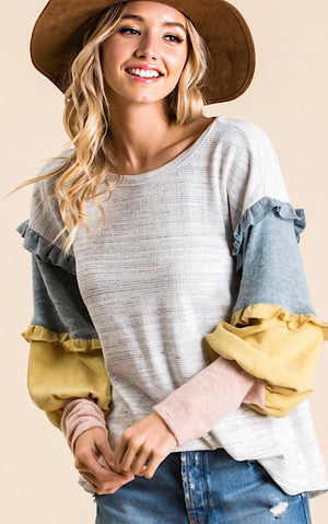 Add A Little Charm Ruffle Sleeve Top
