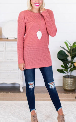 Around Town Dusty Rose Tunic Sweater, XL