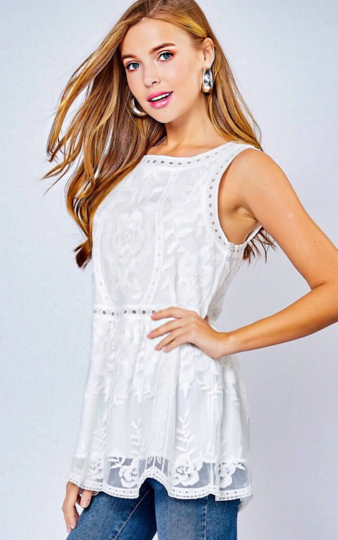 Spice It Up White Lace Top