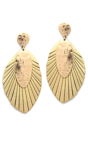 Golden Beauty Leather Earrings