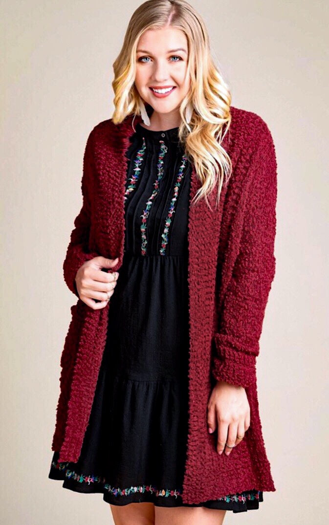 Snuggle Up Burgundy Popcorn Cardigan, 1X-3X!
