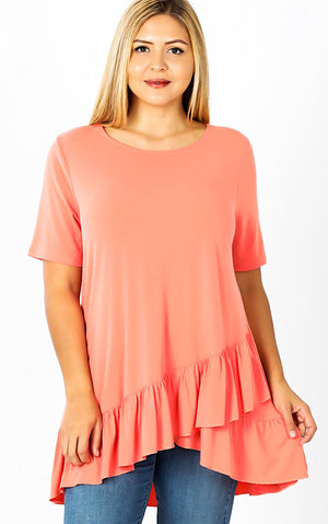 Daydreaming Coral Ruffle Tunic, S-3X *DEAL OF THE DAY*