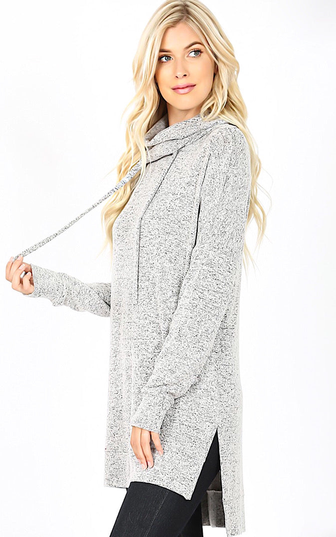 Cozy & Carefree Grey Knit Pullover, S-3X