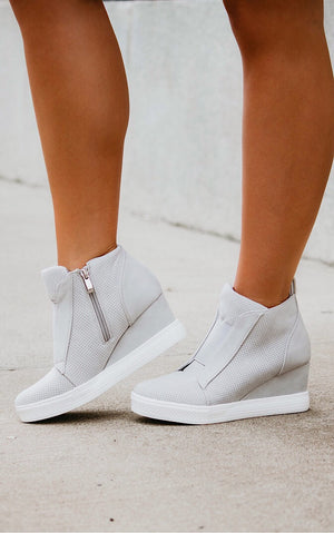 Doll House Light Grey Wedge Sneakers