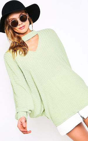 Blushing Beauty Sage Green Top