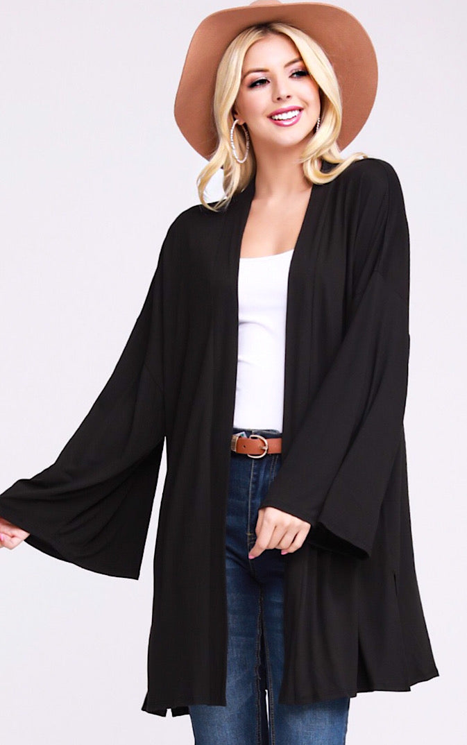 Crisp Evening Black Cardigan, S-3X *DOORBUSTER*