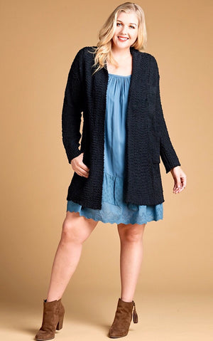 Snuggle Up Black Popcorn Cardigan, 1X-3X!